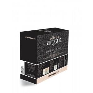 Подарочный набор Argan (крем с гиалуроновой кислото, эликсир молодост, мульти-эффективное сухое масло)